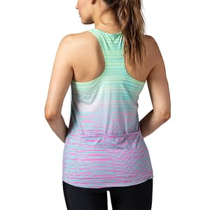 Model wearing Terry Soleil Racer Tank cycling top, a favorite choice for indoor cycling, shown in Speed Bump colorway.