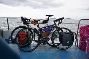 Bikes on the boat, ferry ride to Phi Phi Islands, Thailand