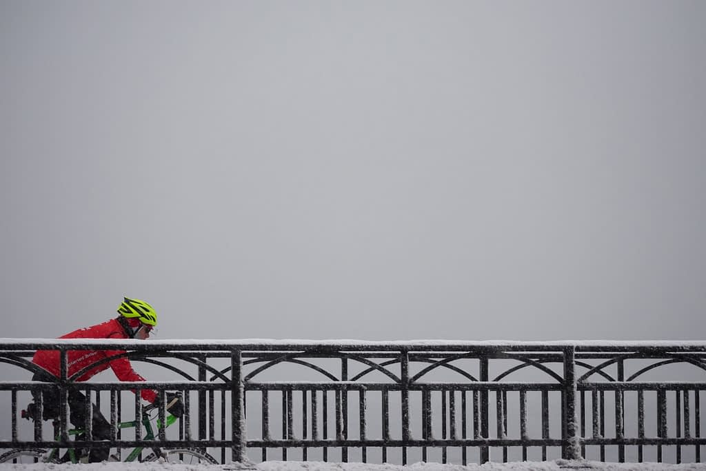 Winter road cycling on a bike path in Madison, Wisconsin
