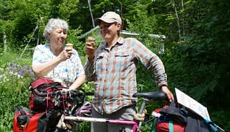 enjoying home made ica cream, with the butterbike touring bike