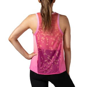 Terry Studio Top, designed for indoor cycling or spinning. Rear view showing full mesh panel, in pink