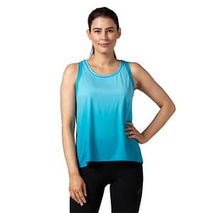 Terry Studio Top, designed for indoor cycling or spinning, front view in blue