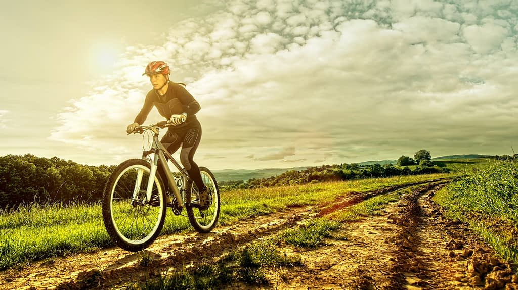 Woman riding a mountain bike along a track through beautiful farmland, in the sunshine