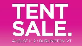 Image of text reading Terry Tent Sale August 1 & 2, 2019, Burlington, Vermont