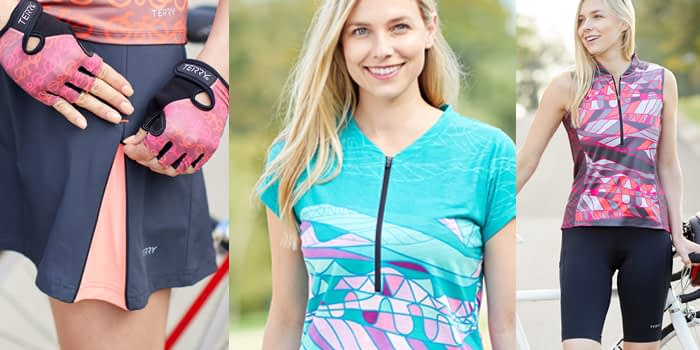 montage image of 3 Terry womens cycling apparel, showing colorful patterns and new features