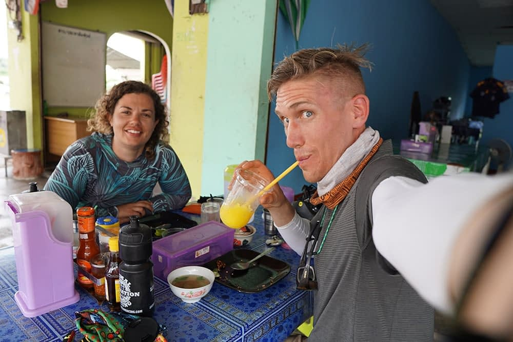 Enjoying a meal in a cafe in Bangkok, toward the end of our cycling tour of Thailand