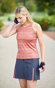 Photo of cyclist model wearing Terry Zipper cycling skirt with Mixie Tank bike top in Hill & Dale