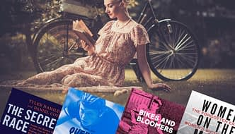 Book corner - woman reading a book in a park, with montage of covers of 4 books on cycling topics
