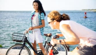 Casual cycling at the sea front in Terry Metro Skort