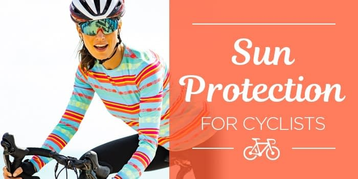 Model wearing Terry Soleil Flow cycling jersey, text reads sun protection for cyclists