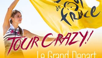 Photo montage showing a model wearing a Terry sleeveless cycling jersey from the limited edition Tour de France 2019 collection, holding a bright yellow Tour de France flag, and showing Test: Tour Crazy – Le Grand Depart