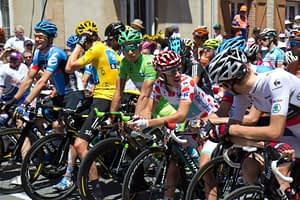 The race leaders line up showing Tour de France Jerseys for the start of a stage in the 2012 Tour de France