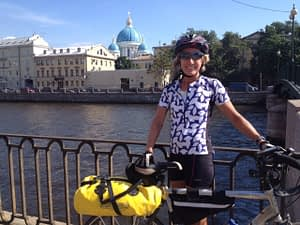 Pamela at the end of a 1600 mile ride from Krakow, Poland to St Petersburg, Russia.
