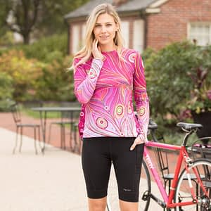 Photo of cyclist model wearing Holster Hi Rise Cycling Shorts by Terry