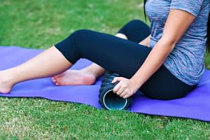 Using a foam roller for post-ride muscle massage