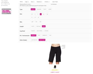Cycling Bottoms page with one item matching the filters applied