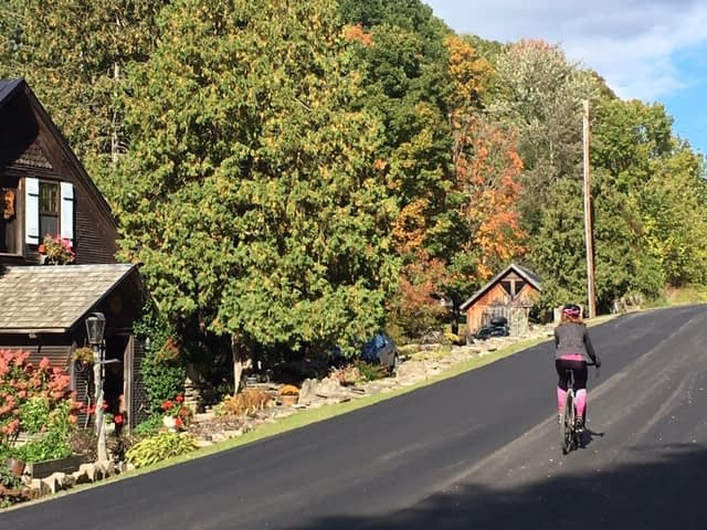 Terry Psychlo women's cycling tight makes its debut on State Prison Hollow Road in Starksboro Vermont