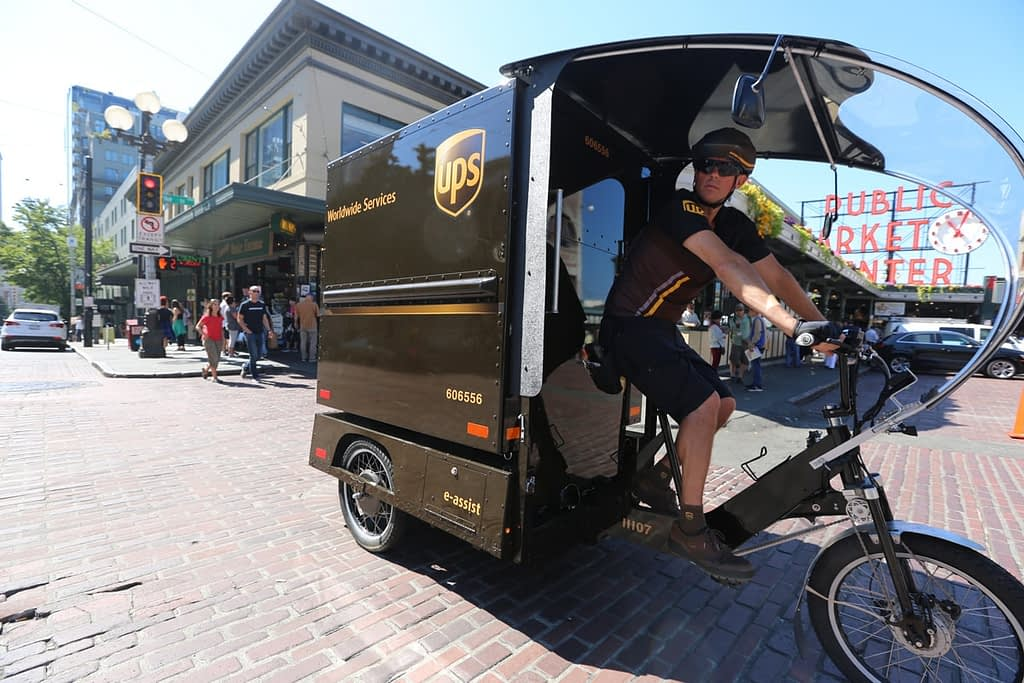 UPS ebike delivery truck in downtown Seattle