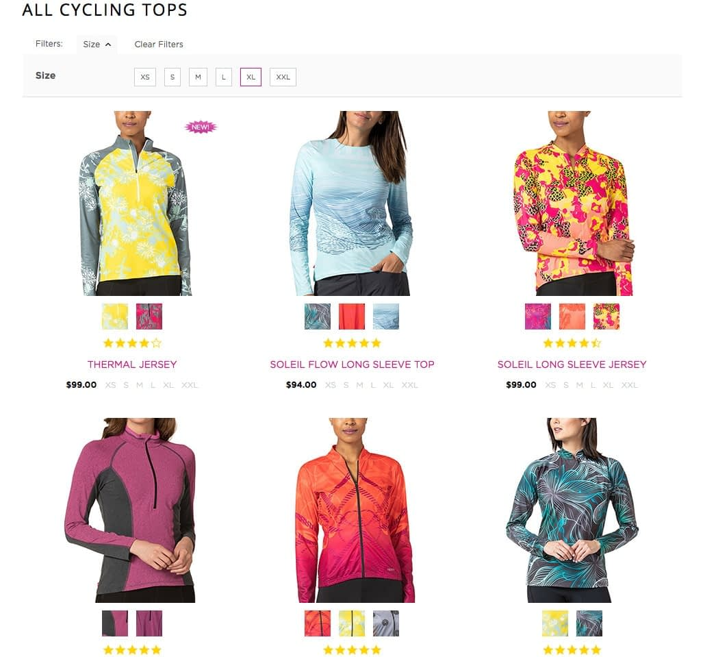 View of Terry Cycling Tops category with showing swatches for alternate colors available.