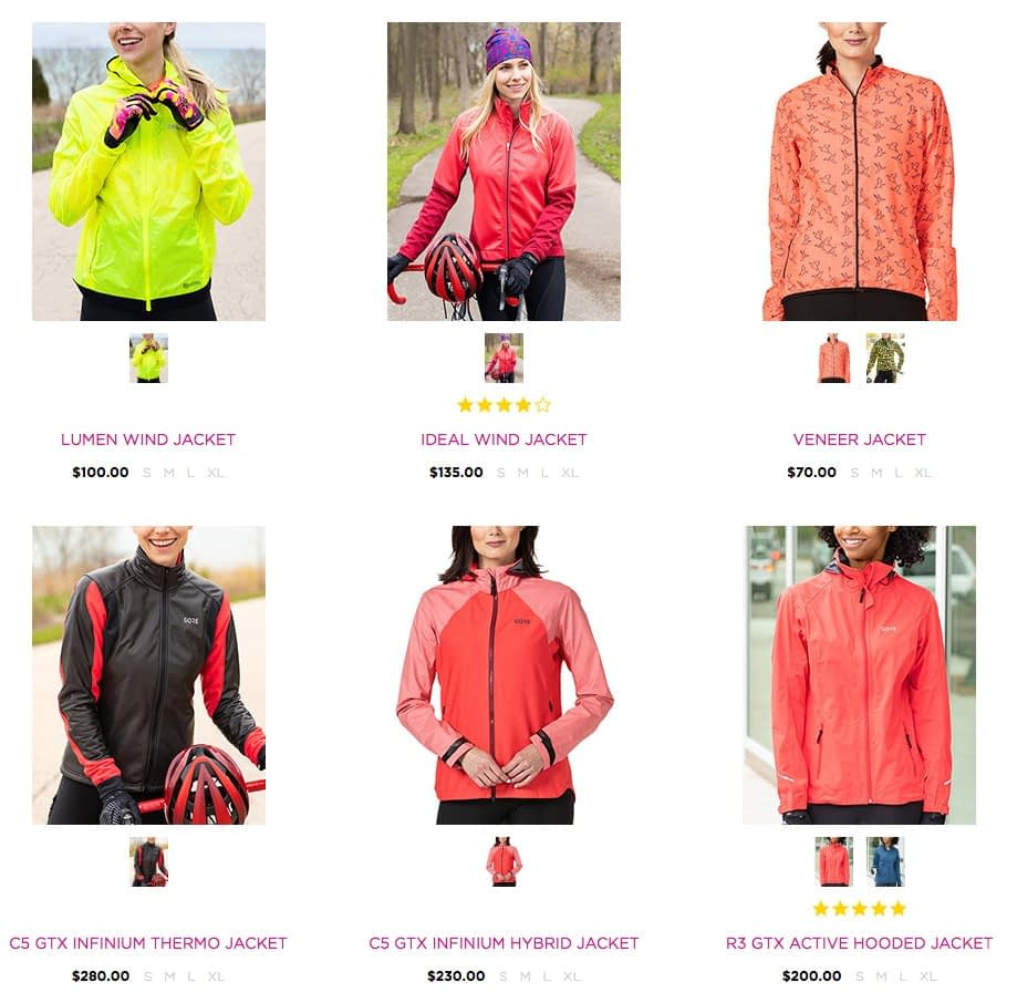 Terry Outerwear category showing item thumbnails with preview of alternate color choices
