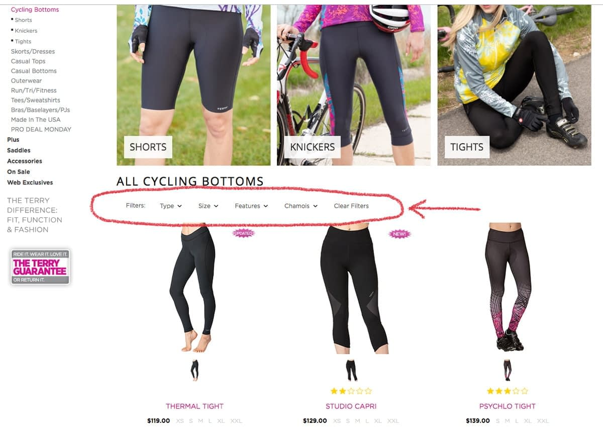 Cycling Bottoms category page on the Terry website, showing new filtering controls