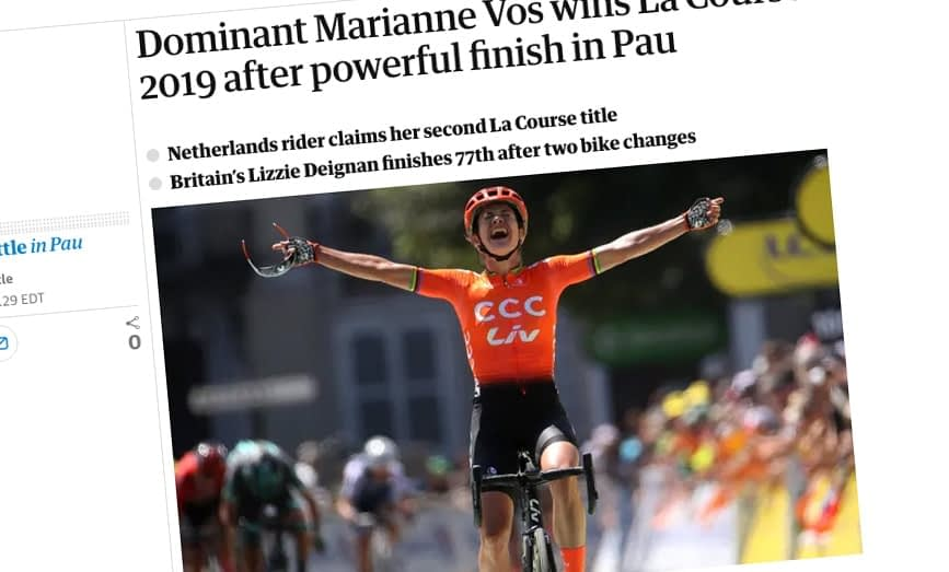 Headlines reporting Marianne Vos's victory in La Course, the Women's Tour de France 2019