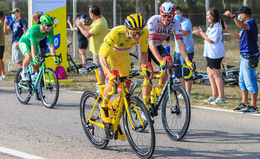 Tour de France leader Pogacar at the start of the final stage 2020