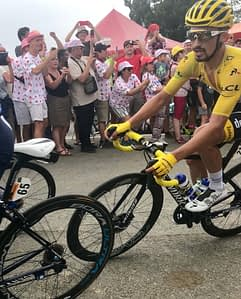 Julian Alaphillipe wearing the yellow jersey in the Pyrenees, Tour de France 2019 stage 14