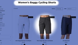 Screenshot of Terry website showing baggy shorts category, with highlighting