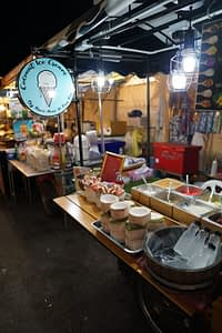Ice cream stall in a ight market at Hua Hin, Thailand