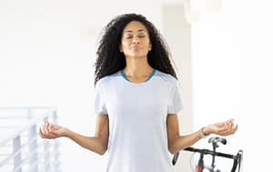 model wearing Terry bike clothes, enjoying a moment of meditation