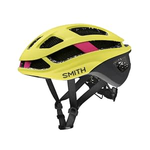 Silhouetted photo of the Smith Trace MIPS bike helmet for women in Matte Citron