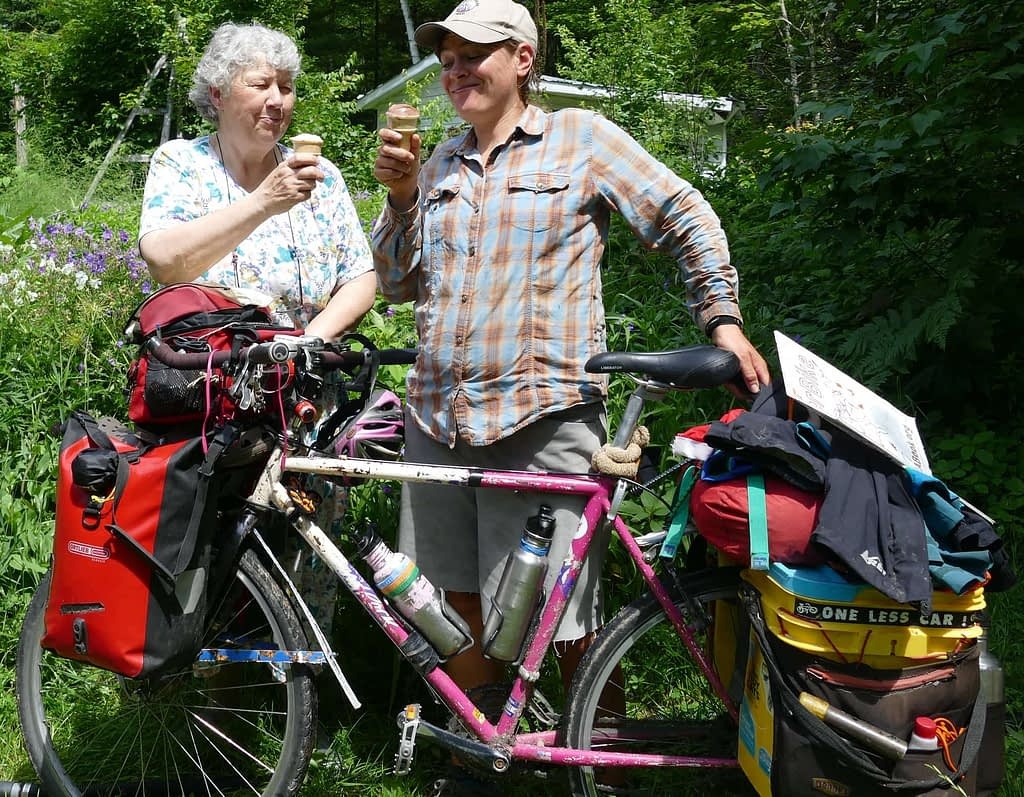 Sara and friend Margaret enjoy home made ice cream, pictured with Sara's touring bike