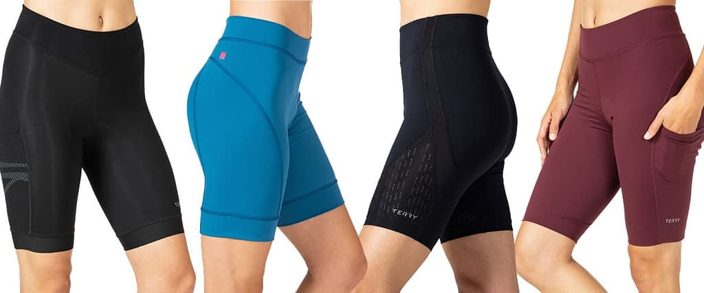 A line up of four new women's bike shorts from Terry for 2021
