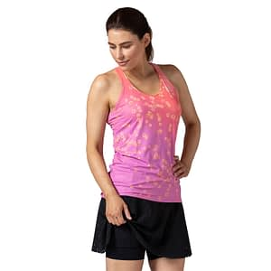 Model wearing Terry Soleil Racer Tank cycling top, a favorite choice for indoor cycling, shown in pink, front view