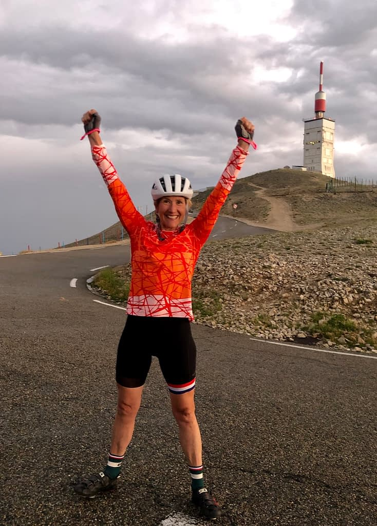 Celebrating victory over mont ventoux, a 26 kilometer climb in Provence, France