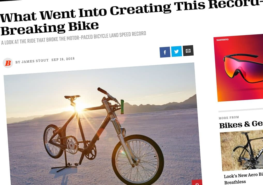 the bike used to set the world paced bicycle land speed record - theprojectspeed.com - as covered by bicycling magazine