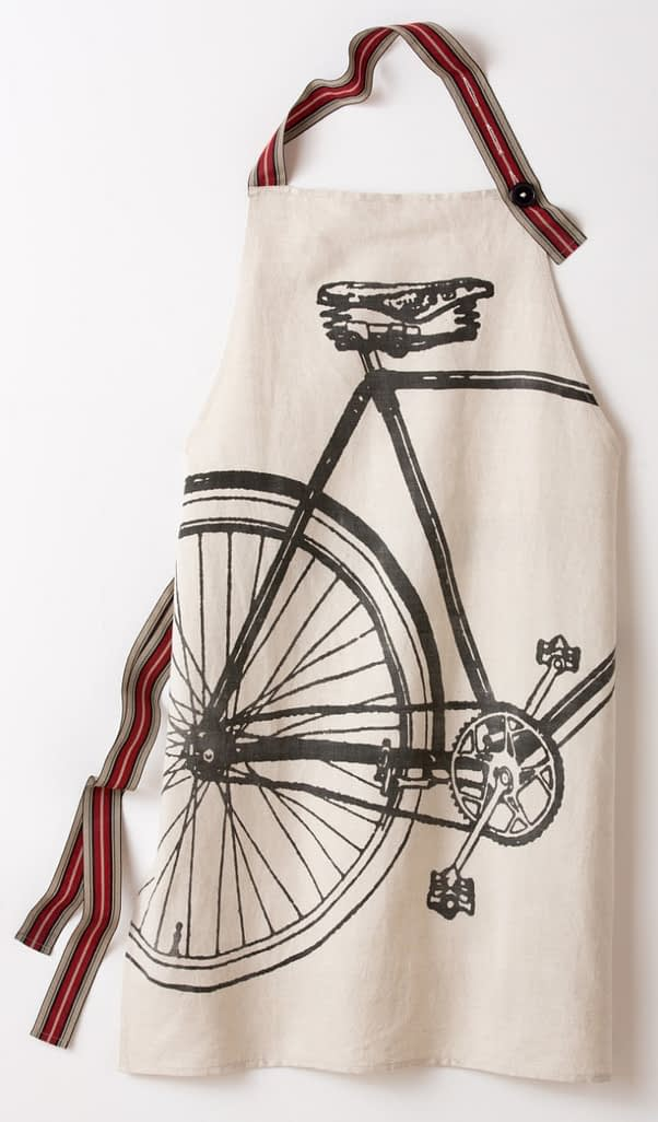 For the gourmet cyclist, linen Bike Apron, $60.