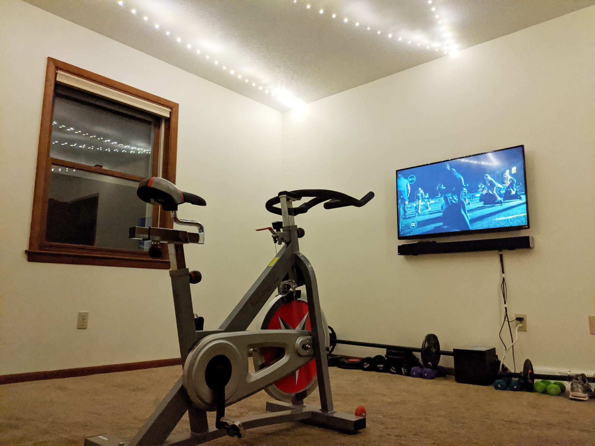 Alysia's indoor cycling set up at home