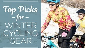 Women riding mountainbikes on snow covered trails, wearing Terry winter cycling gear