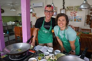 At a cooking class in Bangok, the destination of our tour of Thailand