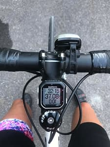 Karen Marshall paused to note her mileage at the top of a steep climb, when she hit a total of 3,000 miles for 2020.