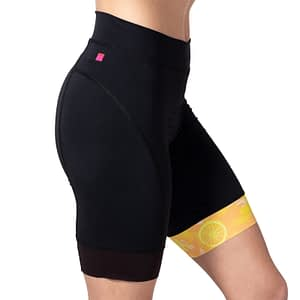 Side view closeup of Terry Peloton TDF Short, a great choice for indoor cycling