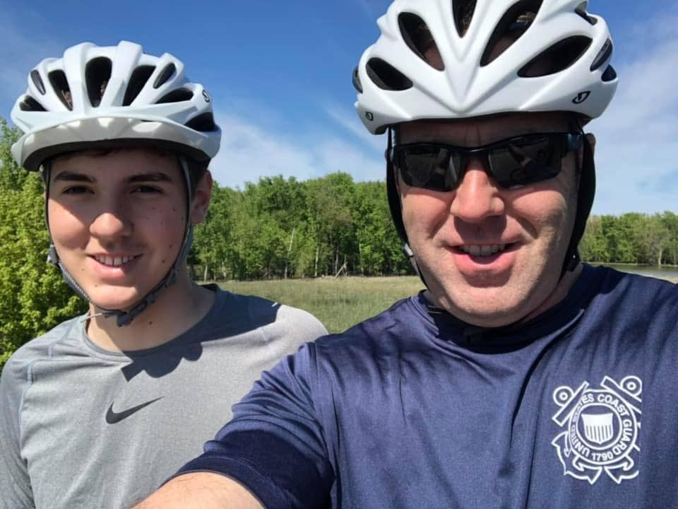 Celebrating cycling dads on father's day – Photo of Dave and son on Burlington's bike path