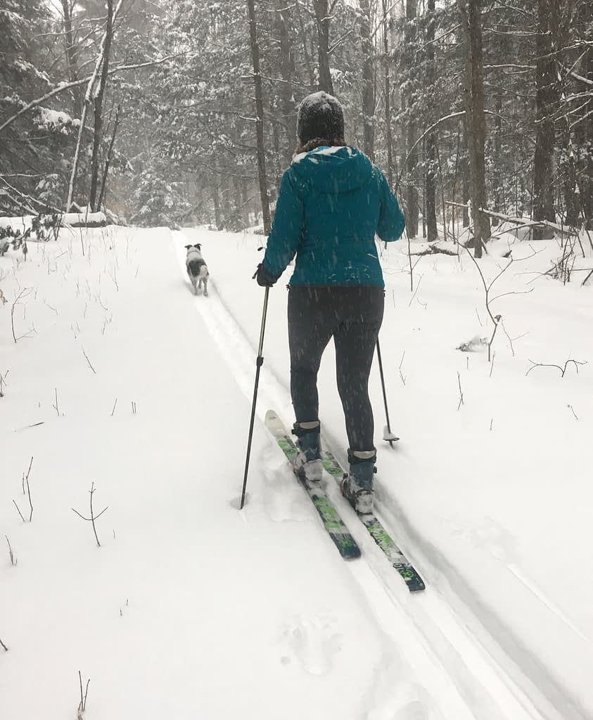 Terry Bicycles staff give new life to old bike tights on the ski trail