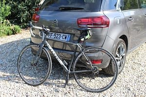 Rental car and my own bike, ready for a week of cycling in Corsica