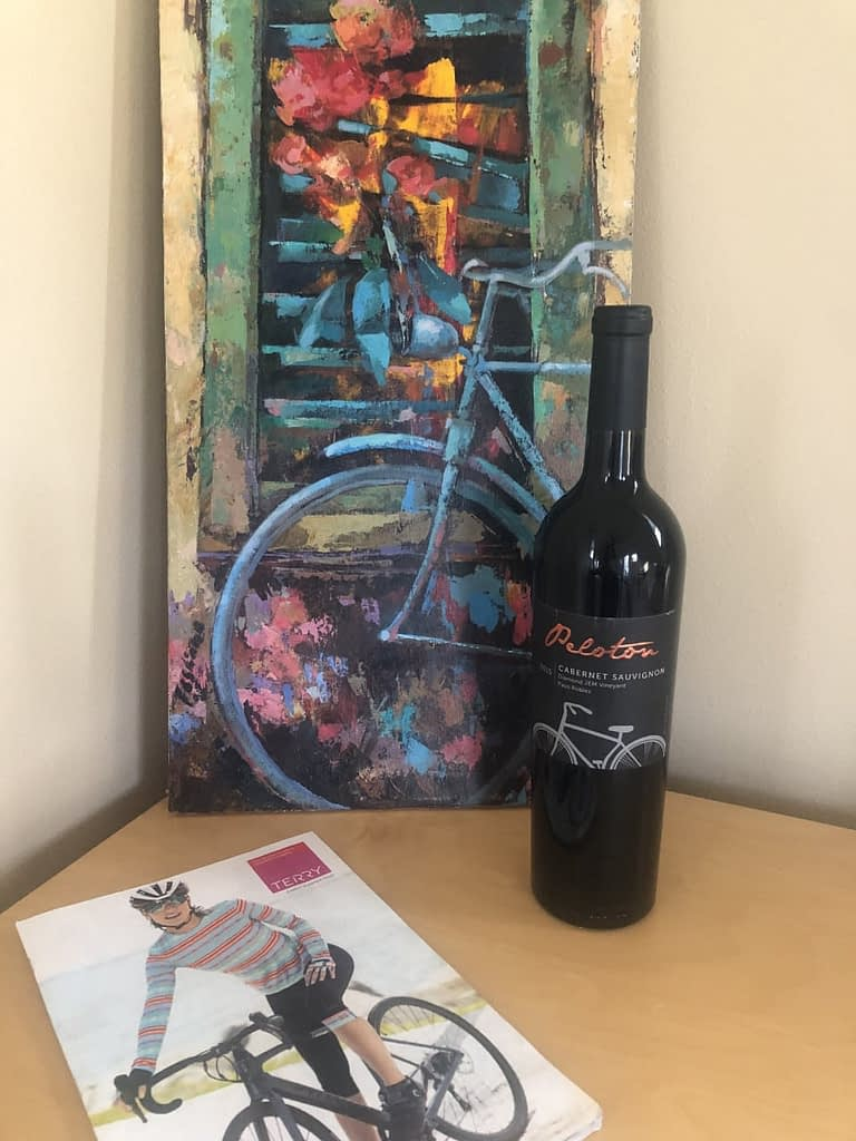 Mother's DAy tableau, bicycle art, fine wine with cycling themed label, the latest Terry catalog.
