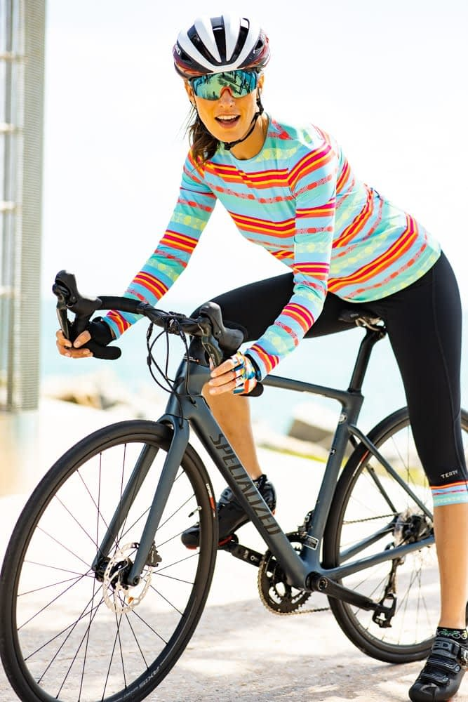 Model wearing Terry Soleil Long Sleeve cycling jersey in Basque