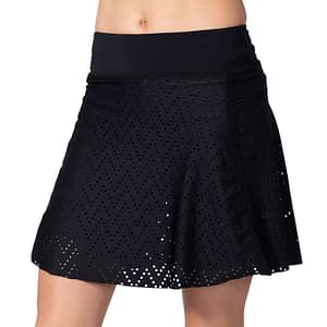 Photo of model wearing the Terry Rebel Cycling Skort, showing front view.