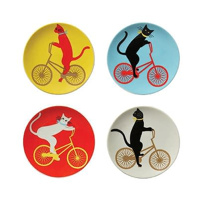 Cats on bikes on china plates, set of 4, $40